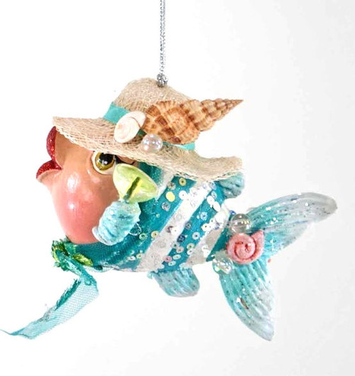 Katherine's Collection Beach Kissing Fish in Turquoise Blue Ribbon Hat