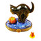 Cat Looking To Pumpkin W/ Removable Candy Corn Rochard Limoges Box