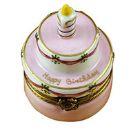Birthday Cake W/Pink Candle Rochard Limoges Box