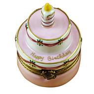 Birthday Cake W/Pink Candle Rochard Limoges Box