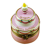 Birthday Cake W/Pink Candle - '39 Again' Rochard Limoges Box