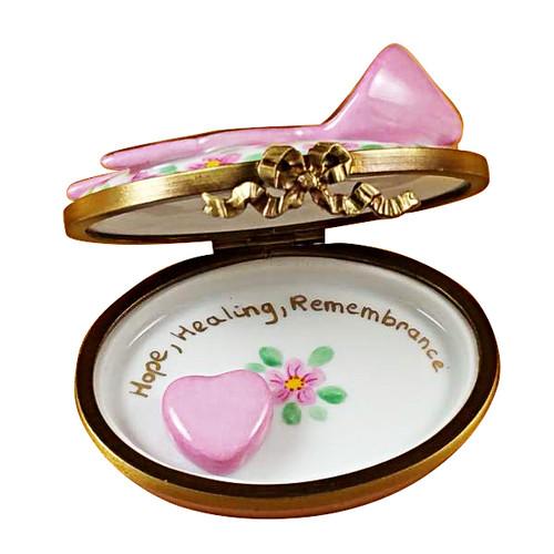 Pink Breast Cancer Ribbon Rochard Limoges Box