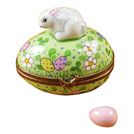 Rabbit On Easter Egg W/Egg Rochard Limoges Box