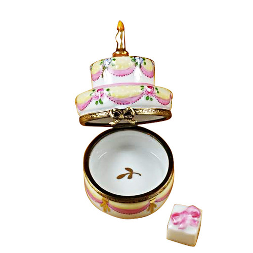 Two Layer Cake With Removable Porcelain Present Rochard Limoges Box