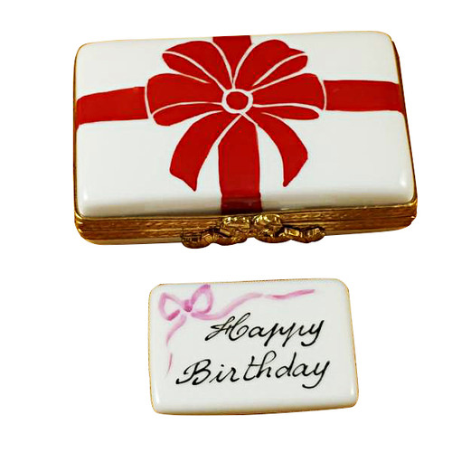 Gift Box With Red Bow - Happy Birthday Rochard Limoges Box