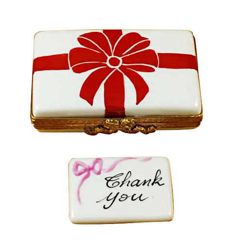 Gift Box With Red Bow - Thank You Rochard Limoges Box