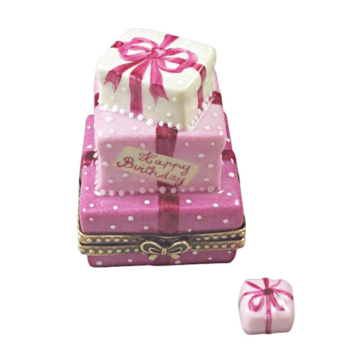 Pink Birthday Cake With Present Rochard Limoges Box