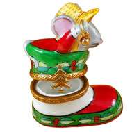 Santa Mouse In Stocking Rochard Limoges Box
