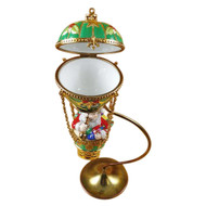 Santa In Balloon With Brass Stand Rochard Limoges Box
