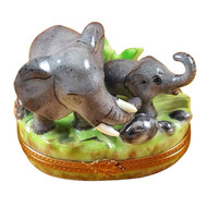 Elephant W/Baby Rochard Limoges Box
