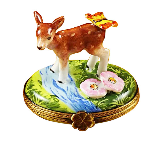 Deer With Butterfly And Flowers Rochard Limoges Box