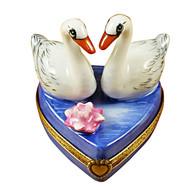 Two Swans On Heart Rochard Limoges Box
