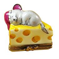 Mouse Sleeping On Cheese Rochard Limoges Box