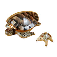 Turtle With Baby Rochard Limoges Box
