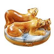 Lioness W/ Cubs Rochard Limoges Box