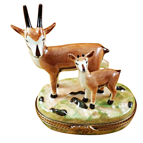 African Antelope W/ Baby Rochard Limoges Box