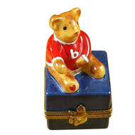 Small Bear On Blue Base Rochard Limoges Box