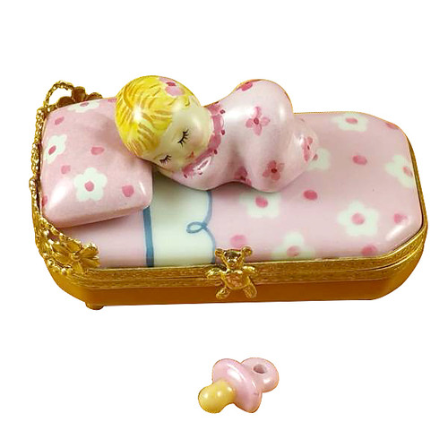 Baby In Pink Bed With Pacifier Rochard Limoges Box