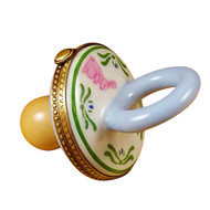 Pacifier W/Rabbits Blue Rochard Limoges Box