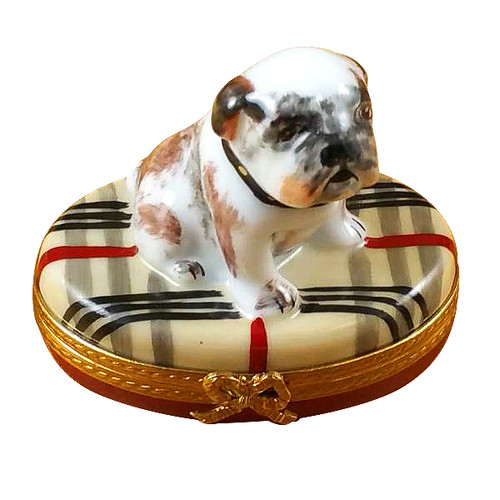 Bulldog On Plaid Rug Rochard Limoges Box