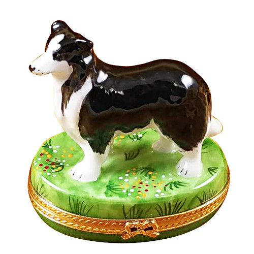Black & White Sheep Dog Rochard Limoges Box