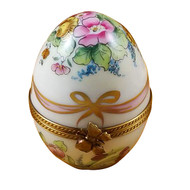 Medium Egg W/Pink Ribbon And Flowers Rochard Limoges Box