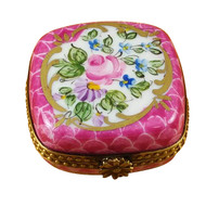 Pink Square With Flowers Rochard Limoges Box