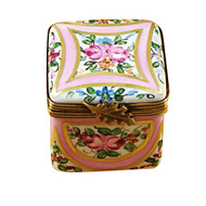 Pink & Gold Square W/Flowers Rochard Limoges Box