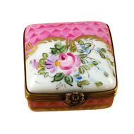 Small Pink Delft Square W/Flowers Rochard Limoges Box