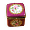 Burgundy Square W/Flowers Rochard Limoges Box