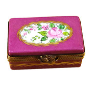 Burgundy Rectangle With Flowers Rochard Limoges Box
