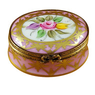 Pink & Gold Oval W/ Flowers Rochard Limoges Box
