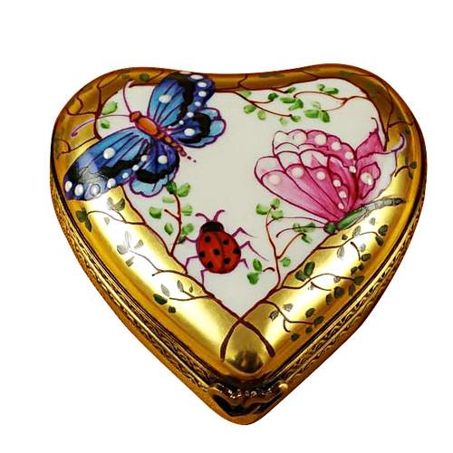 Heart-Butterfly On Gold Base Rochard Limoges Box