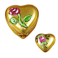 Heart - Gold Rose Rochard Limoges Box