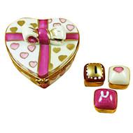 Pink Heart With Three Chocolates Rochard Limoges Box