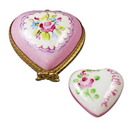 Small Pink Heart W/Heart Rochard Limoges Box