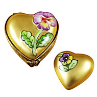 Gold Heart W/Flower Rochard Limoges Box