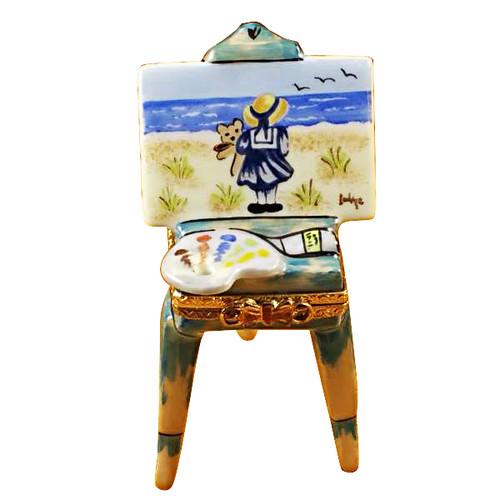 Easel W/Girl & Seashore Rochard Limoges Box