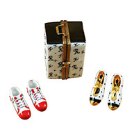 Travel Case W/Two Pair Of Shoes Rochard Limoges Box