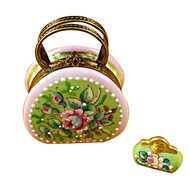 Round Purse W/Coin Wallet Victoria Rochard Limoges Box