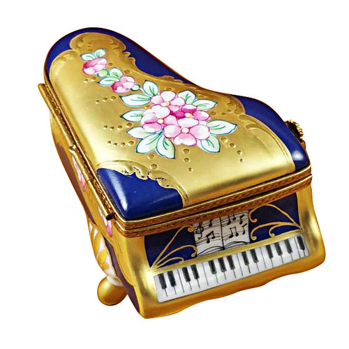 Grand Piano Roses Blue/Gold Rochard Limoges Box