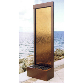 4' Dark Copper Gardenfall With Bronze Mirror Floor Fountain
