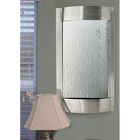 Luna Stainless Steel and Silver Mirror Indoor Wall Fountain