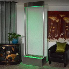 7.5' Gardenfall Clear Glass and Brushed Stainless Steel Frame with LED Lights