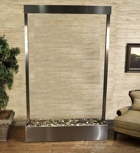 Grandeur River Floor Fountain in Stainless Steel Trim and Clear Premier Glass