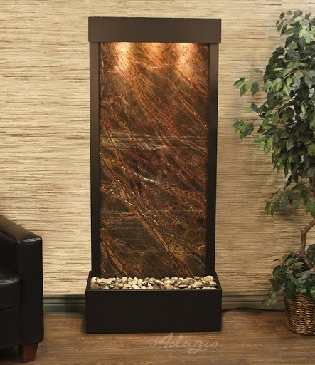 Harmony River Floor Fountain   Brown Marble And Antique Bronze Trim