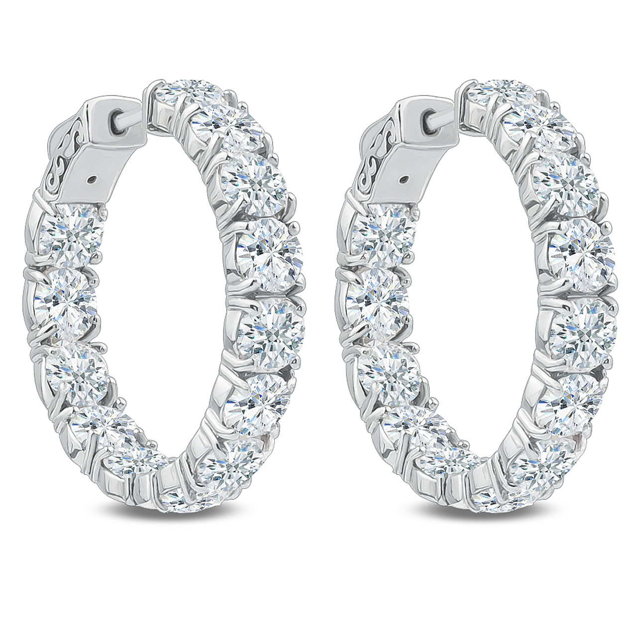 Bellamy Inside Out Rounds Cz Earring Hoops, 130 Carats Total