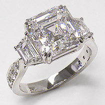 Avalee Asscher with Trapezoids CZ Engagement Ring, 8.5 Ct TW