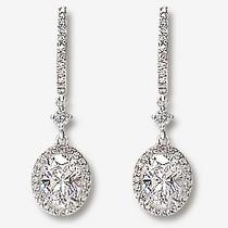Elyse Huggie Top 1.0 Carat Oval Drop Halo Earrings, 2.5 Ct TW