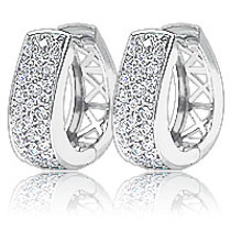 Derby Pave CZ Horseshoe Hoop Earrings, 1.0 Ct TW